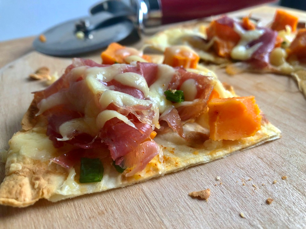 Sweet Potato and Prosciutto Tortilla Flatbread