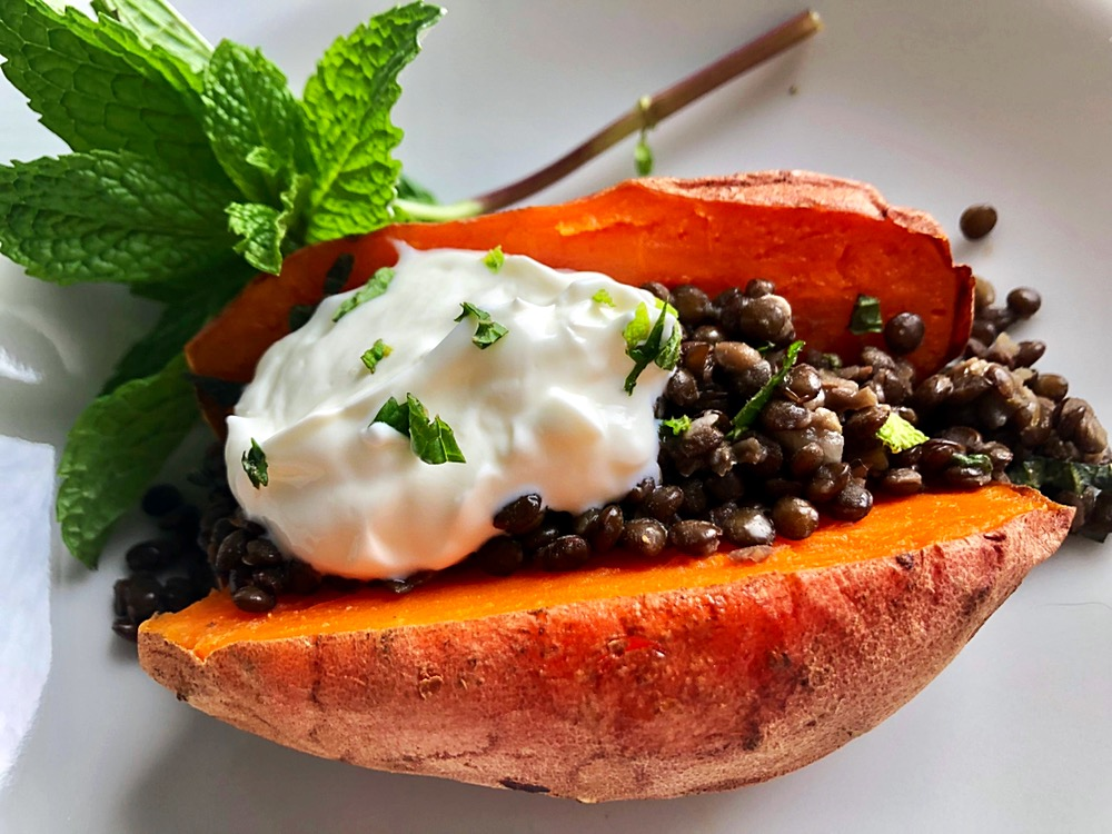 loaded sweet potatoes with lentils