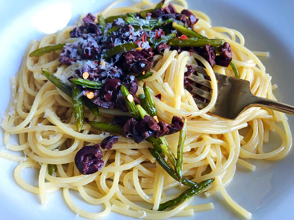 Pasta with Garlic Scapes and Olives