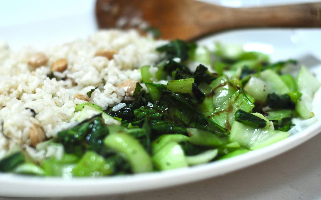 Sauteed Bok Choy with Mediterranean Fried Rice