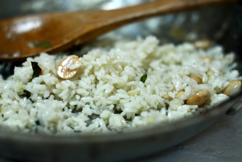 Mediterranean fried rice with almonds