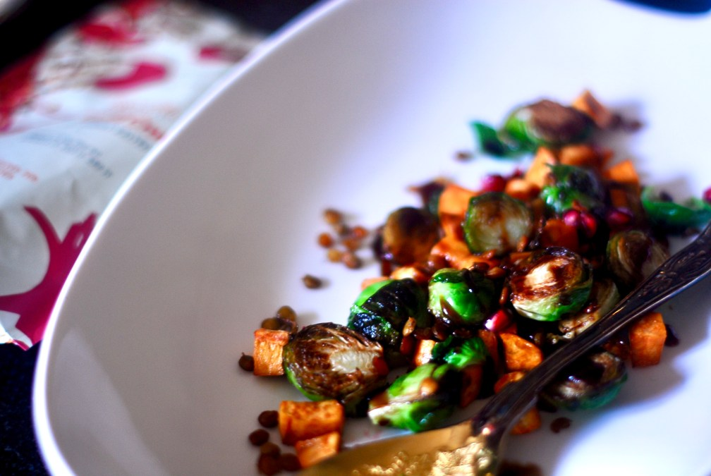 Brussels Sprouts with Sweet Potato and Pomegranate